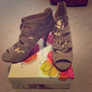 Taupe Lace Up Heels Size 10